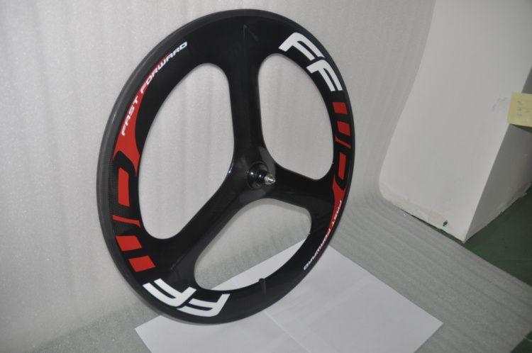NEW FFWD 3-spoke tubular carbon bike wheel Full Carbon glossy Tri-spoke 3 spokes carbon wheelset TT fixed track Bike Front wheel