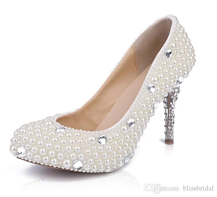 Comfort Kittle Face Pearls Beared Wedding Bridal Shoes Formate Lady Proment Party Sandals Crystal Роскошь Свадебная обувь