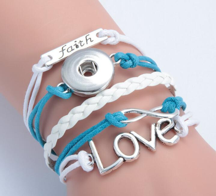 white+blue Infinity faith love noosa button diy bracelet alloy pu leater woven handmade snap button bracelet diy jelwery DIY accessories
