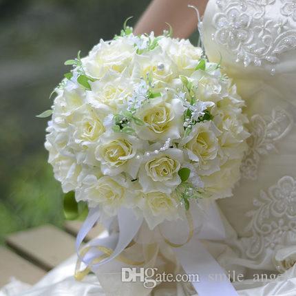 Wedding Bridal Bouque Artificial Silk Cloth Ribbon Flowers Wedding Bridesmaid Bouquets Party Theme Flower Ball Christmas Table Deco