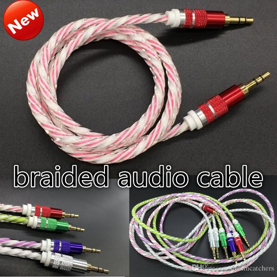 Online Cheap 3.5mm Stereo Audio Aux Cable Braided Woven Fabric Wire ...