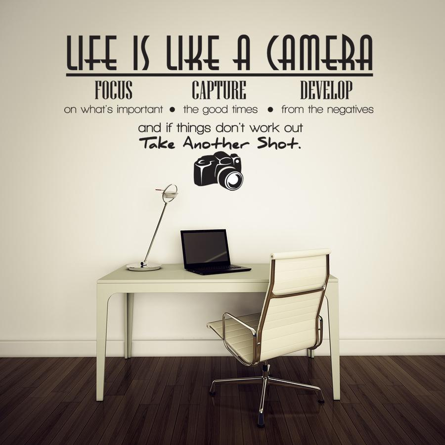 Decorative Wall Decals life is like a camera quote wall stickers adesivo de parede vinyl