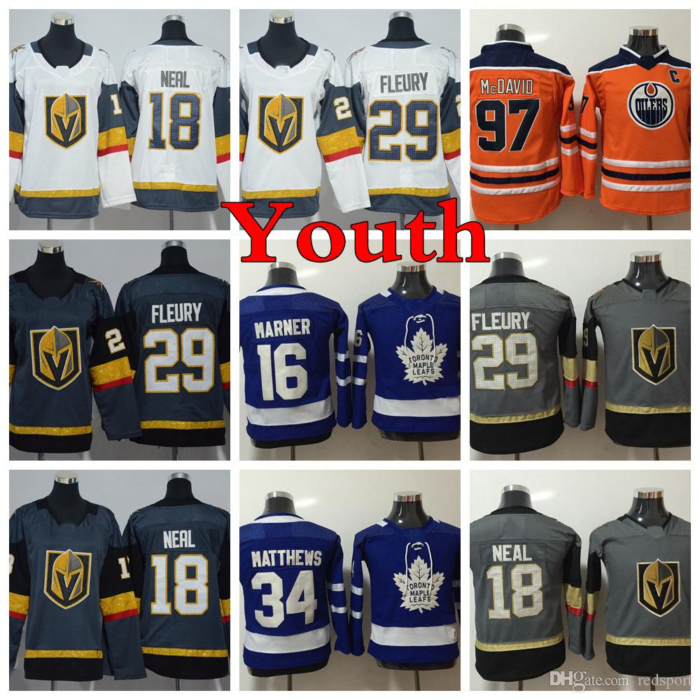 f83675c1a 2018 AD YOUTH Hockey Jerseys 29 Marc-Andre Fleury 18 James Neal 97 ...