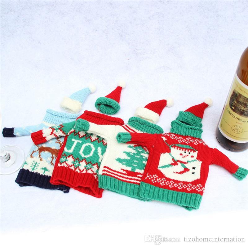 ! Christmas Wine Bottle Cover Bag Navidad Banquet Christmas Dinner Party Xmas Plush Cute snowmen Table Decor new years supplies
