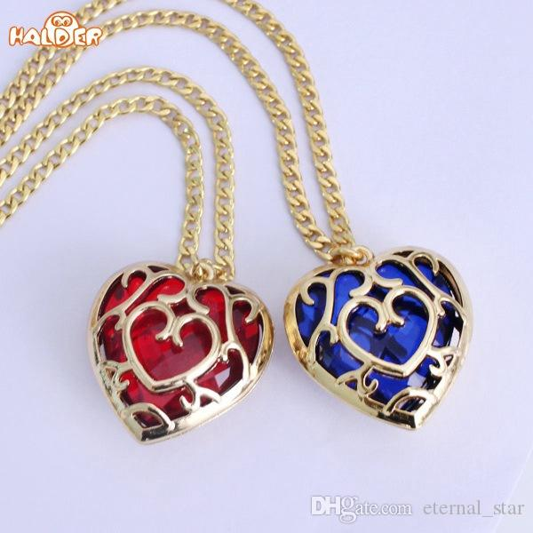 necklace product love heart shape wholesale red and colors pendant crystal blue of chain the zelda key keychains legend