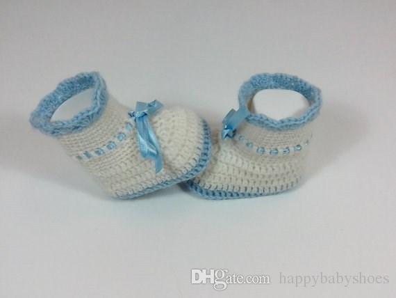 Crochet Baby neonato Crochet Scarpe Infantili Stivaletti all'uncinetto Baby Girl Shoes Stivali ragazze e ragazzi Crochet Baby ribbon light blueg / Stivaletti