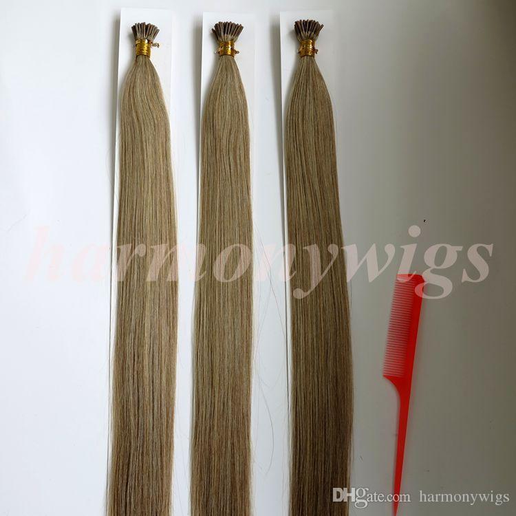 Pre скрепленный я наклоняю бразильское наращивание человеческих волос 100г 100пряди 18 20 22 24-дюймовый M8613 цвет индийские волосы продукты