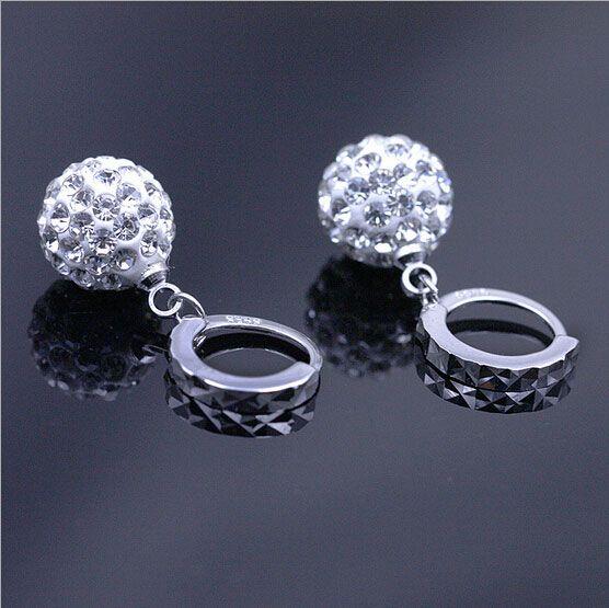 Austrian Crystal Dangle Earrings Rhinestone Disco Ball Ear Jewelry 925 Sterling Silver Earrings for Wedding Party Brand New
