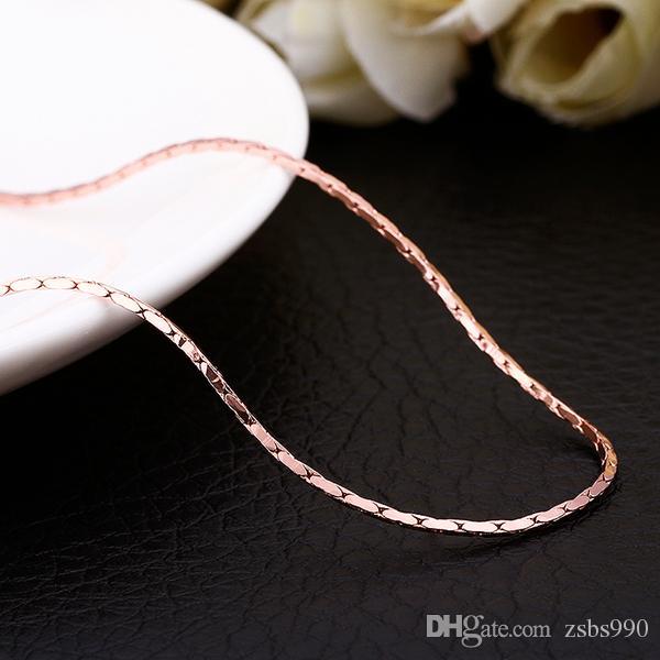 Yüksek kalite 18 K altın zincir kolye 1.5 MM 0.5 MM X 18 inç moda takı düğün hediyesi ücretsiz kargo