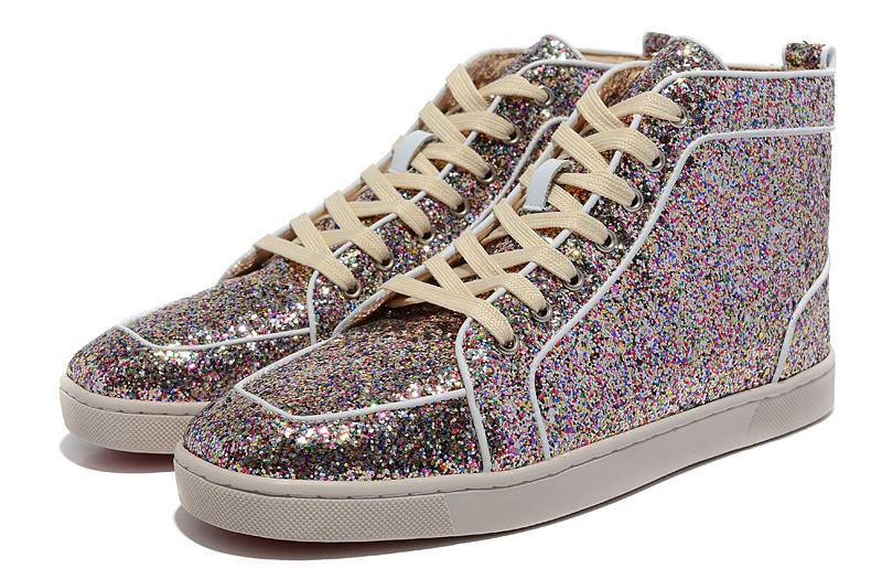 855014af0e3 Men Women Colorful Glitter Genuine Leather Gold Line Fashion Red Bottom  Sneakers