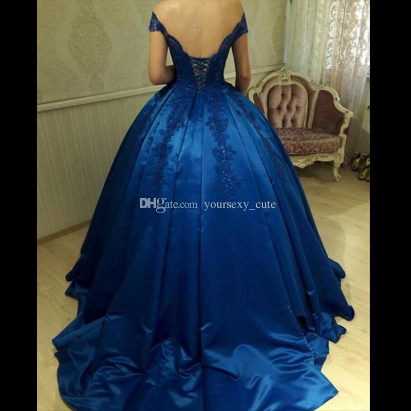 5f60c8312f0 Royal Blue Off Shoulder Ball Gown Prom Dresses Appliques Beaded Satin  Corset Backless Evening Dresses Quinceanera Dresses Sweet 16 Gowns Short  Red Prom ...