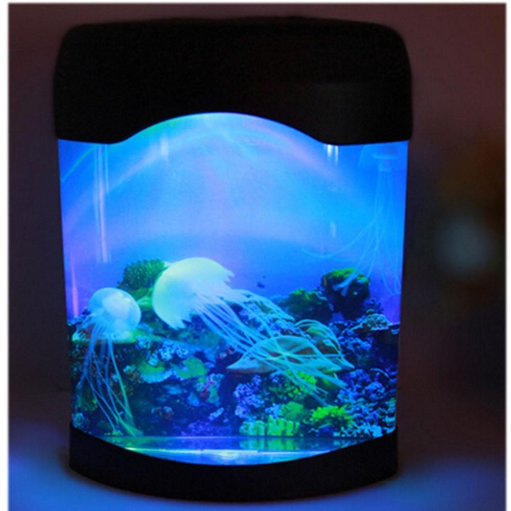 2018 colorful mini fish tank electronic jellyfish aquarium for Fish tank night light