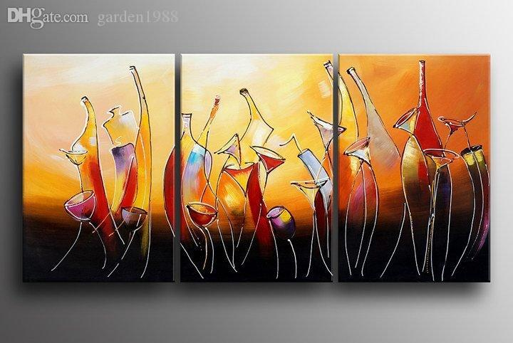 2018 Hand Painted Modern Abstract Bottle Wine Canvas Painting For ...