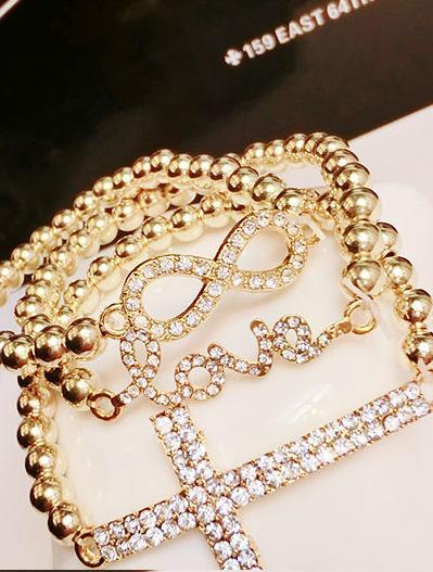 Nuevo grano Elástico dama mujeres niñas pulseras de moda número de hoja 8 carta de amor encanto rhinestone pulsera de la joyería 6styles mezcla