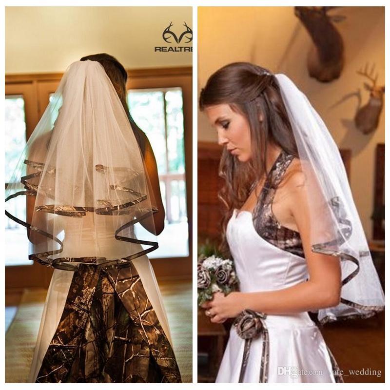 Real Photos Camo Short Bridal Veils Real Tree Edge Elbow Length Camo Ribbon Edge Wedding Veils Hair Pieces For Brides With Comb