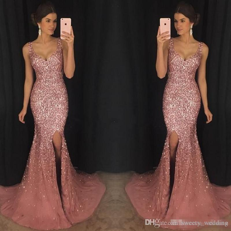 2018 Luxury Gorgeous Sparkly V-Neck Mermaid Prom Pageant Dresses Crystal Beaded Prom Dress Major Beading Split Sweep Train Evening Dress