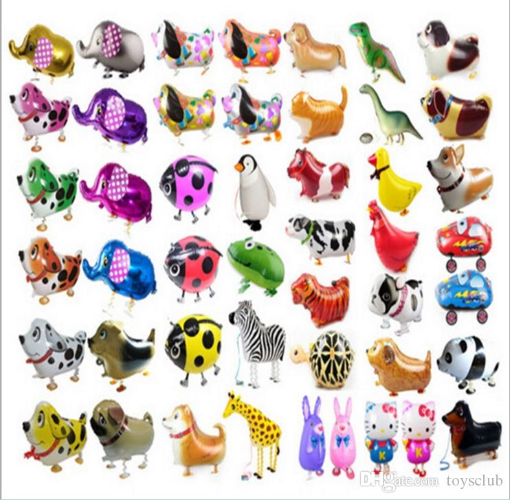 Newest Walking Pet Animal Helium Aluminum Foil Balloon Automatic Sealing Kids Baloon Toys Gift For Christmas Wedding Birthday Party Supplies
