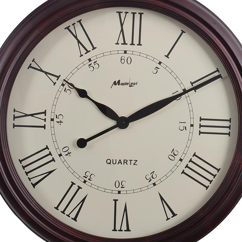 European High Grade Watch Vintage Brown Wooden Wall Clocks Roman