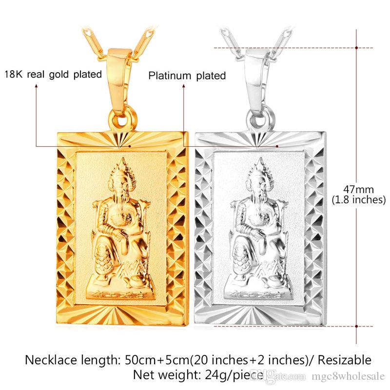 MGC Buddhism Pendant Necklace 18K Real Gold/Platinum Plated Fashion Religious Jewelry For Women/Men P1405