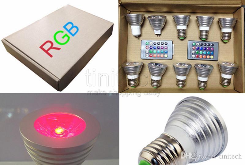 3W LED RGB Bulb Changing 3W LED Spotlights RGB led Light Bulb Lamp E27 GU10 E14 MR16 with 24 Key Remote Control 85-265V & 12V