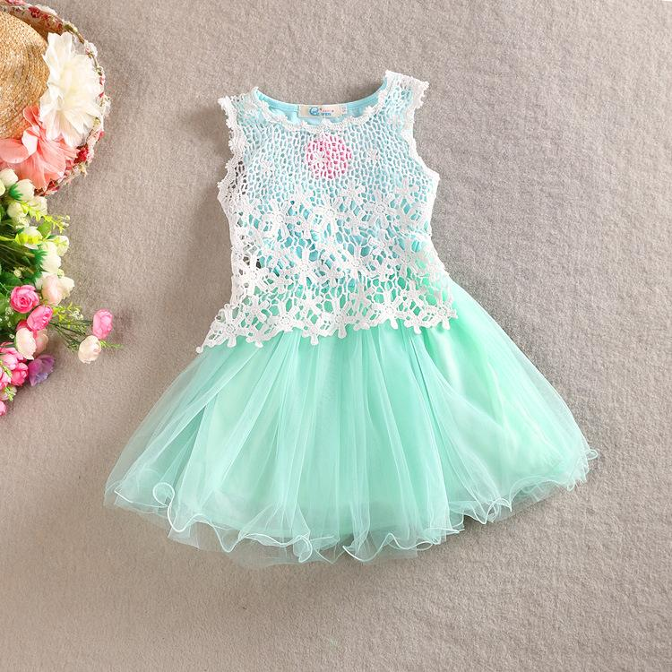 2018 New Arrival Baby Girl Kids Sleeveless Vest Dress Lace Dress