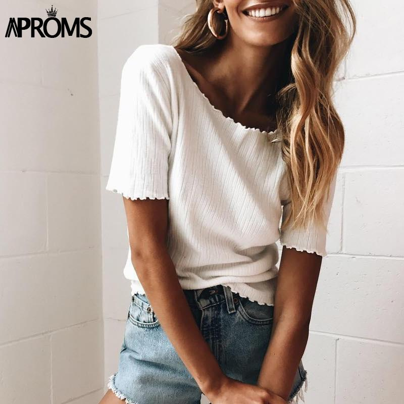 ac75acba7e15 Wholesale Aproms Women Sweet Knitted Short Sleeve T Shirt 2017 Basic Knit  Tee Casual White Stretch T Shirt Female Fashion Summer Top Mujer The  Following T ...