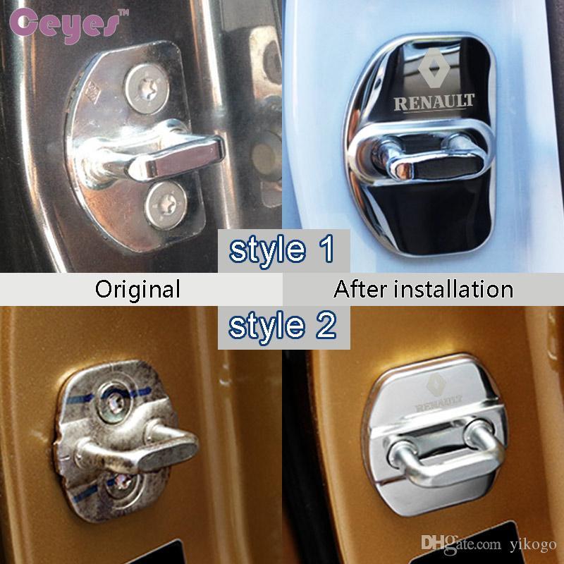 Cubierta de la cerradura de la puerta del coche para Renault pluter captur megane 2 3 logan clio kadjar escénico puerta de la cerradura cubierta protectora Car Styling 2 unids / lote