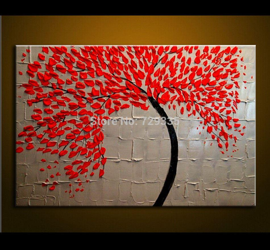 Wall art flower painting - 2018 Hand Made Oil Painting On Canvas Palette Knife Red Tree Flowers Painting Modern Decoration Painting Canvas Wall Art Picture From Hongkongartshop
