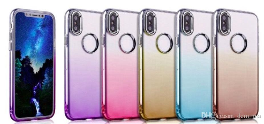 Electroplate Gradient Cell Phone Case Soft TPU Cases for iPhone X 8 7 6 6s Plus Colorful Clear Protective Cover