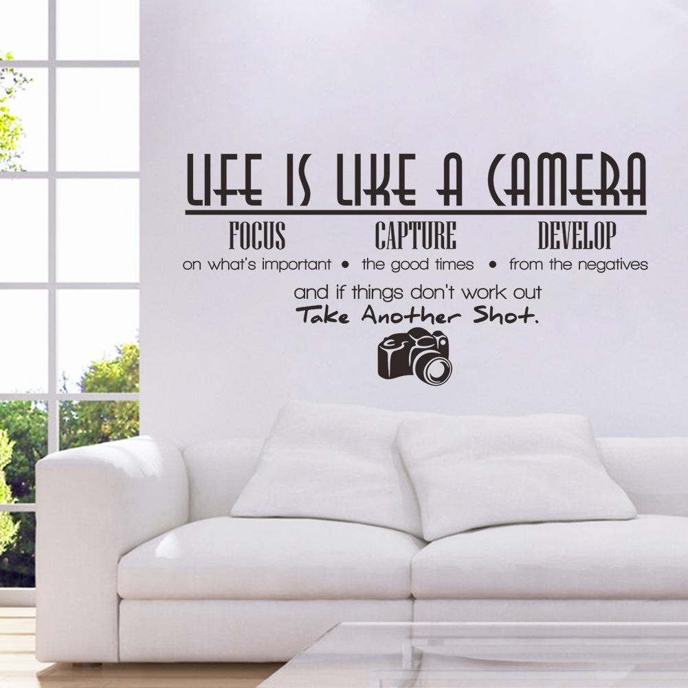 Life Is Like A Camera Quote Wall Stickers Adesivo De Parede Vinyl
