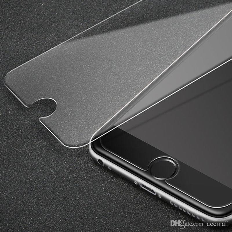 لاجهزة ايفون X 8 7 6 بلس 5S 2.5D واقي شاشة صلب مقاوم للكسر بحماية زجاجية لهواتف سامسونج جالاكسي S6 S7 S8 Edition 7Plus مع حزمة ورق