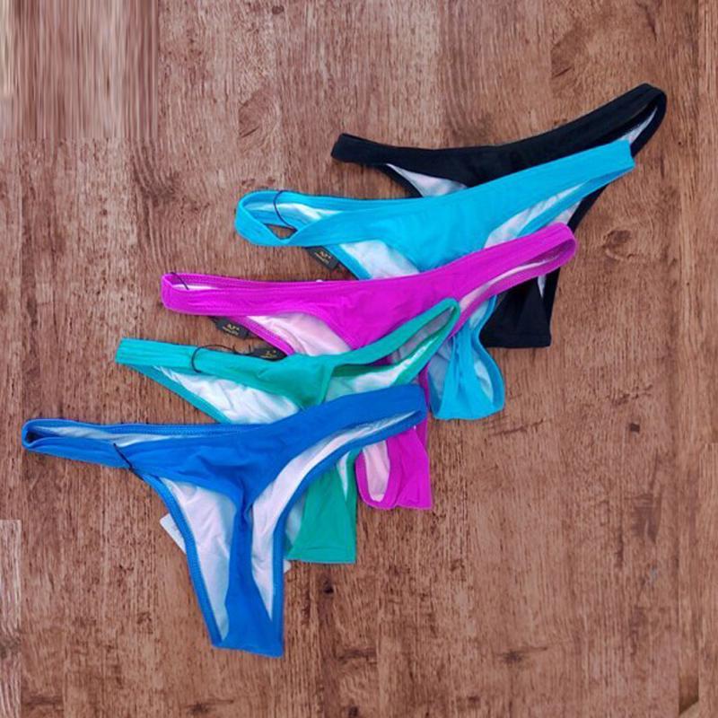 5 couleurs bas de bikini sexy coupe haute brève culotte de natation taille basse maillots de bain sous-vêtements plus taille string string biquini