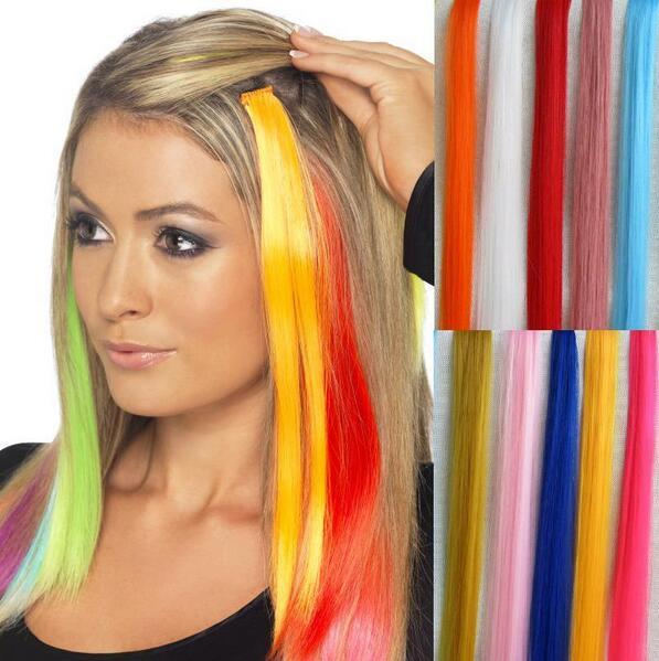 أزياء المرأة الفتيات متعدد الألوان طويل مستقيم كليب الاصطناعية في أومبير الشعر ملحقات 52cm ملون الشعر كليب في شحن مجاني