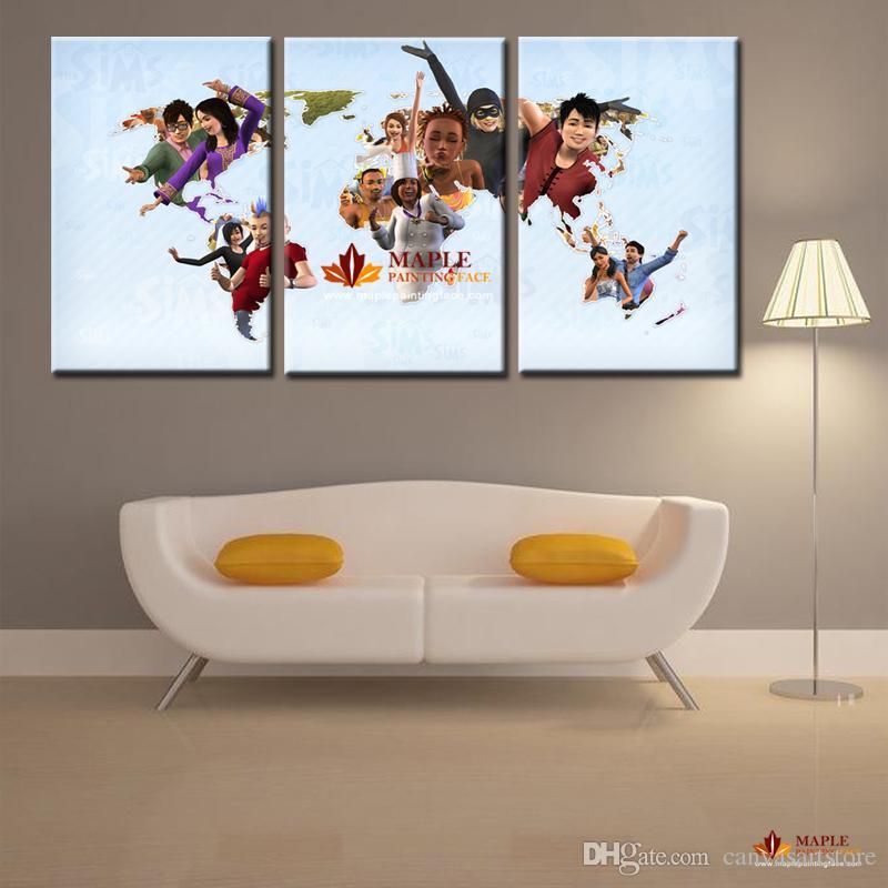 3 paneles de arte moderno de la pared arte de la pared decoración del hogar sin marco de impresión pintura sobre lienzo imágenes hermoso mapa del mundo para sala de estar Dector