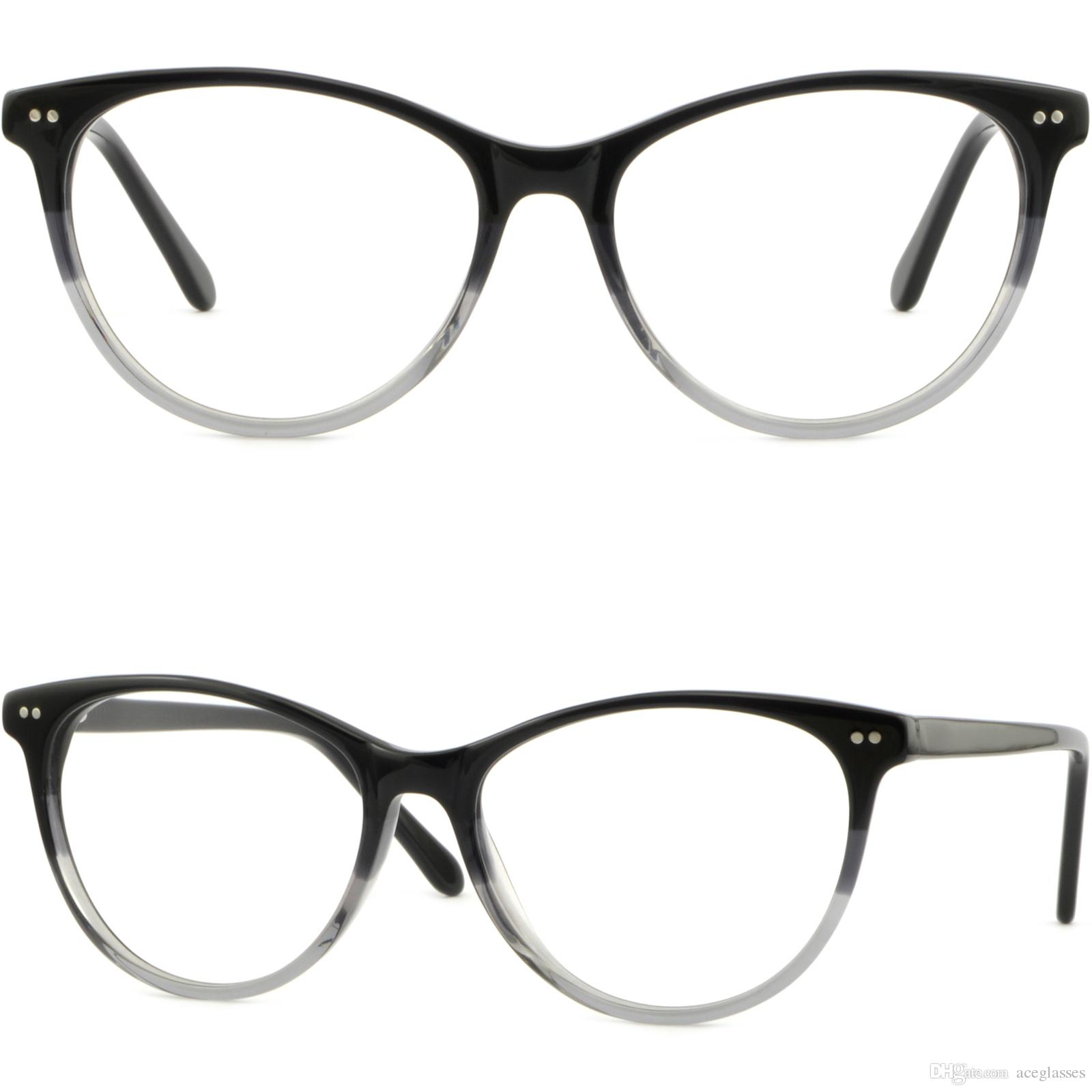 464238971b Thin Men Women Acetate Frame Spring Hinge Round Glasses Silver Dot Accents  Black Rimless Eyeglasses Frames Stylish Eyeglass Frames From Aceglasses