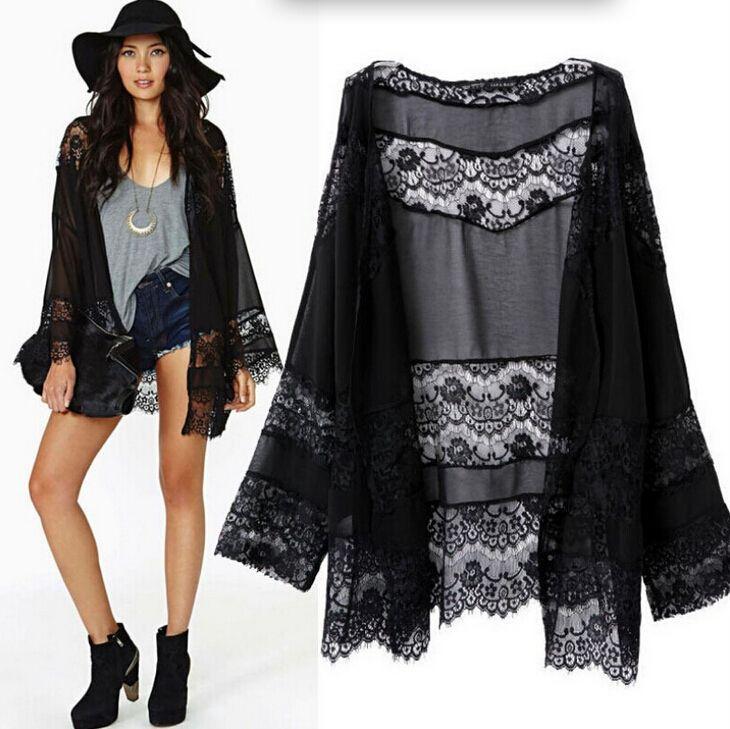 2018 European Style Ladies Black Lace Kimono Cardigan Batwing ...