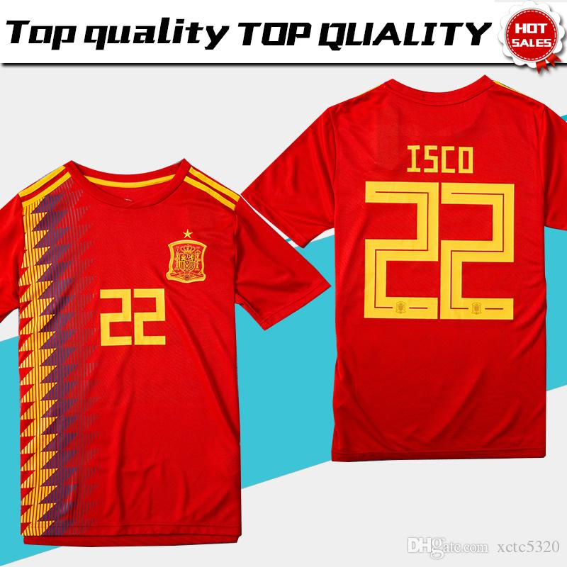 fe0bf7a1c 2019 Spain Home Red Soccer Jersey 2018 World Cup Spain Home Soccer Shirt  2018  22 ISCO  20 ASENSIO  15 RAMOS Football Uniforms Sales Size S 3XL From  ...