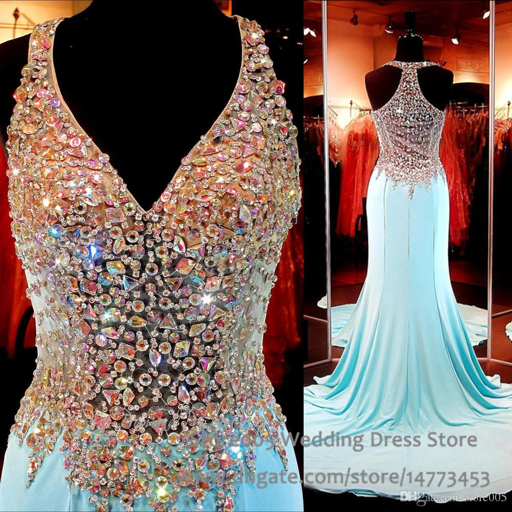 Sparkle Teen Pageant Dresses Sky Blue V Neck Crystal Rhinestone Prom ...