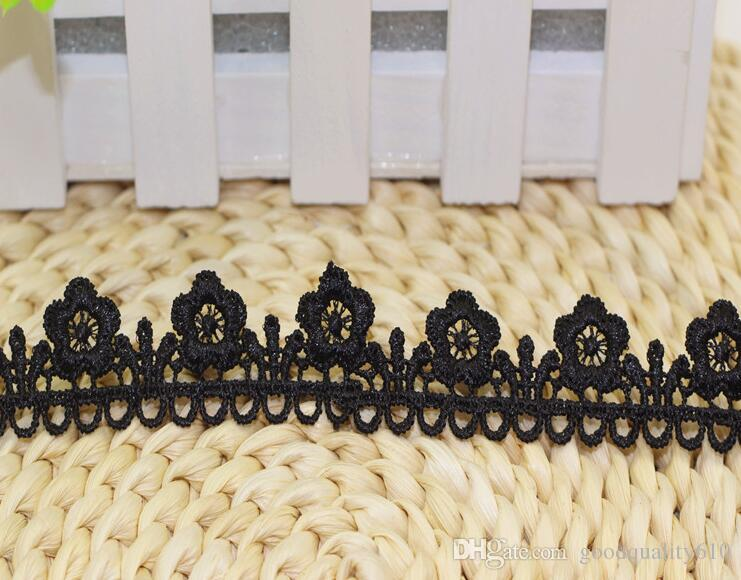 "45 Yard Width 1"" Black Hollow Flower Wave shape Lace Cotton Fabric Trim For DIY Bridal wedding Doll Cap"