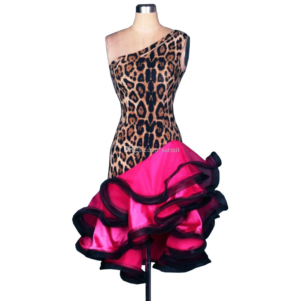 2018 Latin Dance Dress Women Leopard Print D017 Competition Dancing