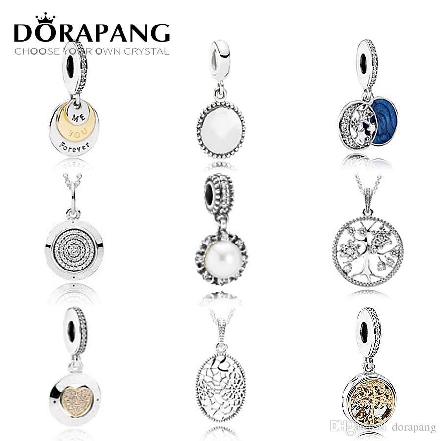 DORAPANG 925 Sterling Silver Família Árvore de Cristal Pingente de Pérolas Encantos Beads pulseira de colocação pulseira DIY Atacado