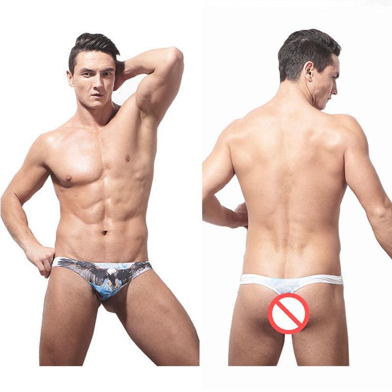 Men Sexy Intimates Briefs Underwear Fashion Panties Lingerie Animal Eagle Owl Leopard Print Bikini U convex Briefs Underwear for Gay Men