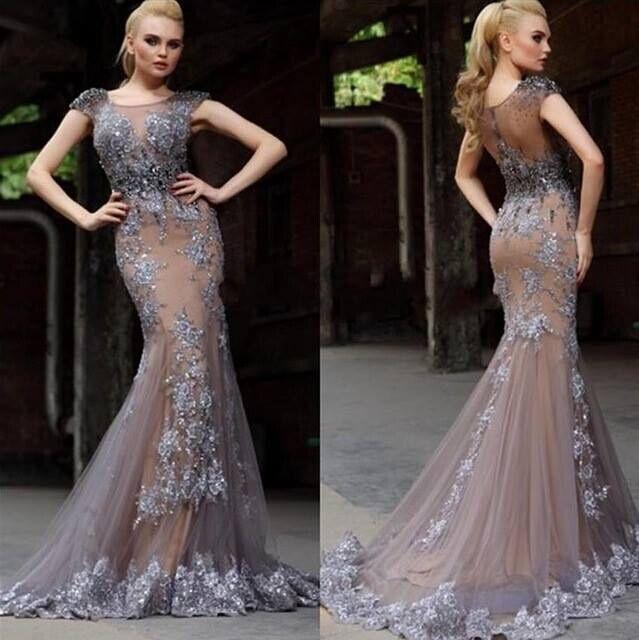 Glamouröse graue lange Meerjungfrau Prom Kleider Flügelärmeln schiere Juwel mit silbernen Perlen Applikationen Trompete arabische formale Abendkleider