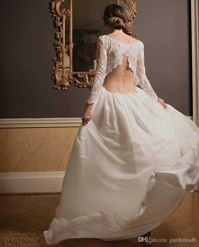 Drop Sleeve Wedding Gowns With: 2015 Drop Waist Wedding Dress Jewel Long Sleeve Low Back A