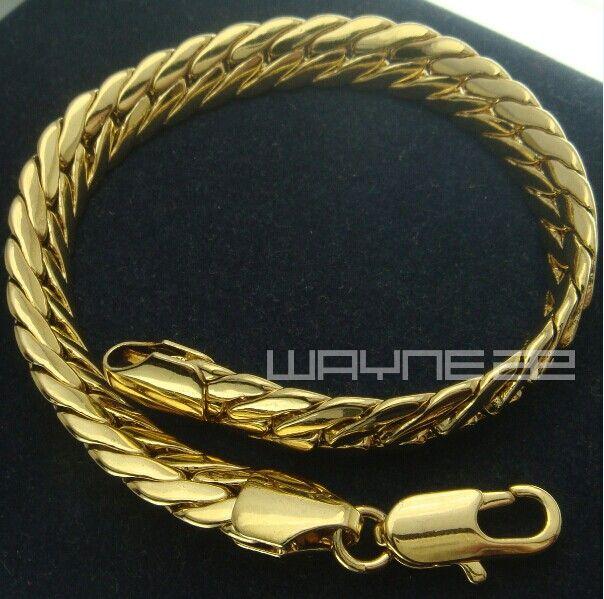 Mens Womens 18k yellow gold GF snake chain solid bracelet bangle B151