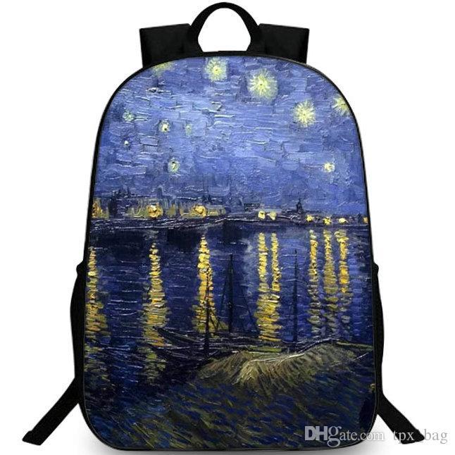 b33f146783b48 Satın Al Rhone Üzerinde Yıldızlı Gece Sırt Çantası Sırt Çantası Van Gogh Sırt  Çantası Boyama Schoolbag Eğlence Sırt Çantası Spor Okul Çantası Açık Gün ...