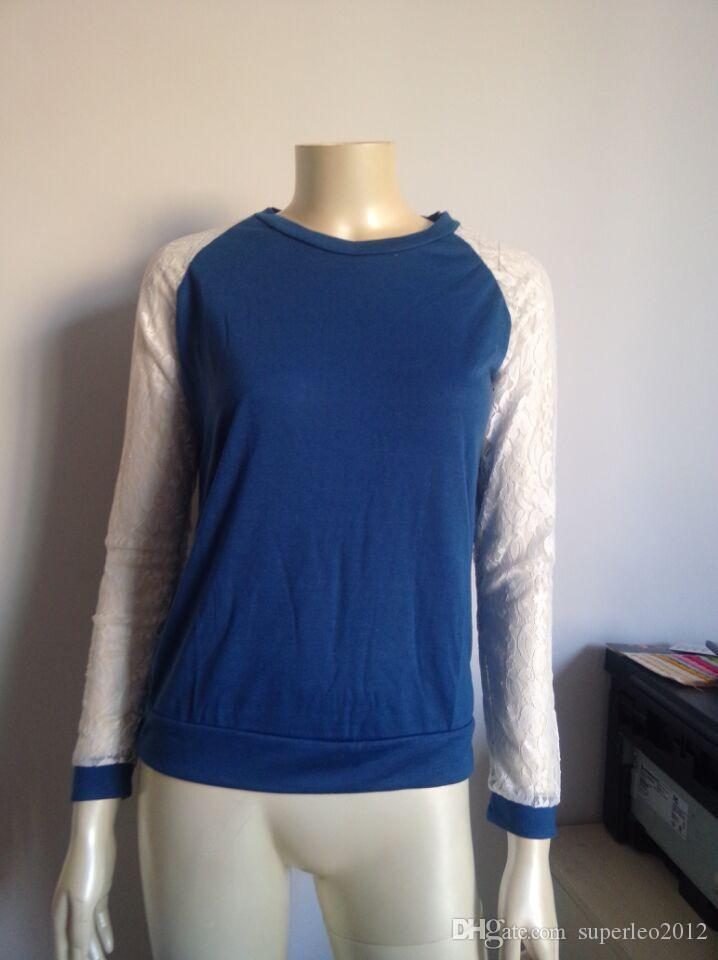 Hot Sale Ladies' Spring Autumn Casual Cotton Lace Long Sleeve T Shirt Loose O Neck Patchwork Cotton Blouse