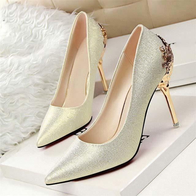 85166581061a Sexy High Heels Dress Shoes Woman Pumps Red Gold Silver High Heels Shoes  Metal With Heels Luxury Ladies Wedding Party Shoes Geox Shoes Dress Shoes  For Men ...