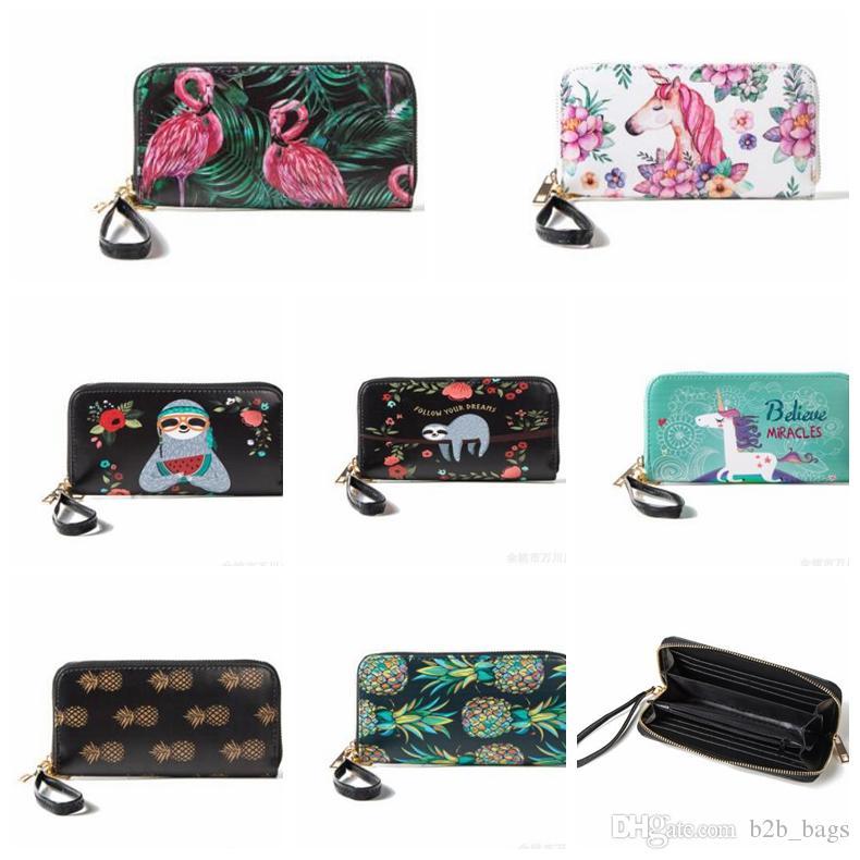 9daa3f9f3e67e Großhandel Einhorn Flamingos Einhorn Frauen Lange Brieftasche Clutch Leder  Geldbörse Kartenhalter Telefon Zipper Handtasche Lange Clutch KKA3217 Von  ...