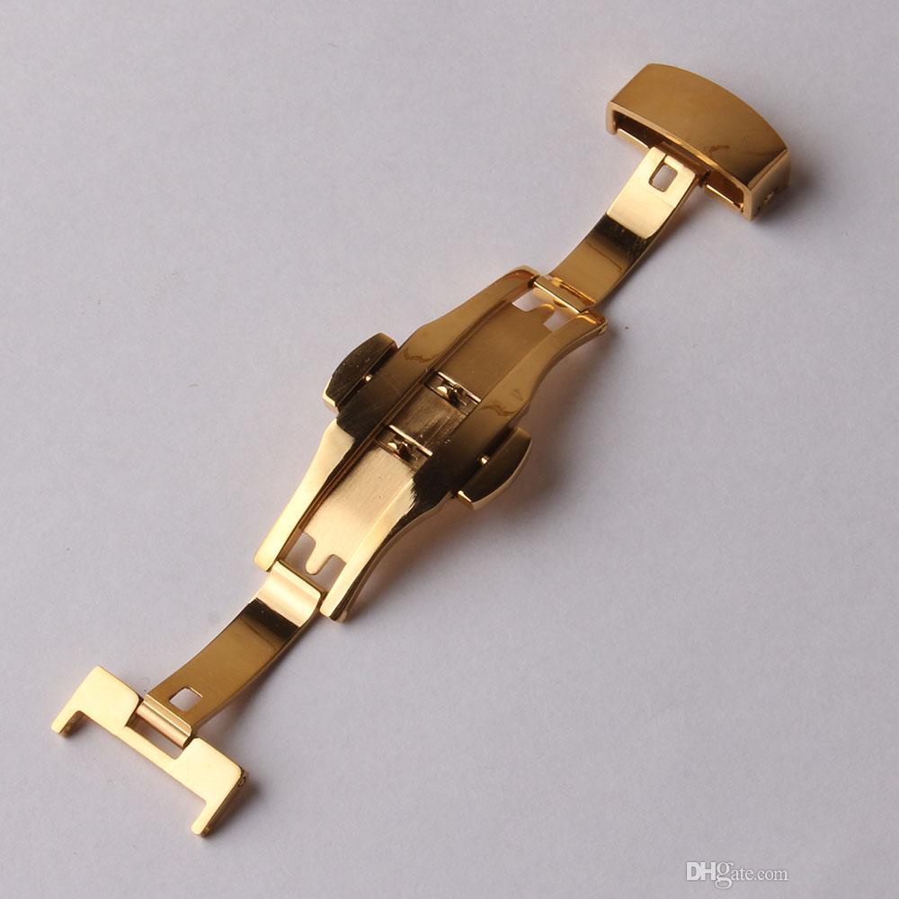 12mm 14mm 16mm 18mm 20mm 22mm boucles de papillon fermoir déploiements en acier inoxydable pour bracelet en cuir de haute qualité accessoires en métal or